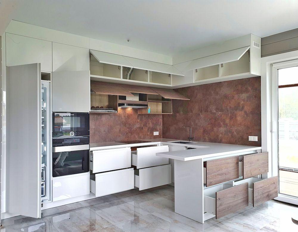 Белый кухонный гарнитур-Кухня МДФ в эмали «Модель 533»-фото6