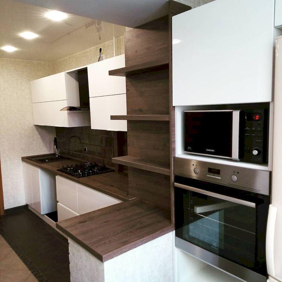 Белый кухонный гарнитур-Кухня МДФ в эмали «Модель 654»-фото1