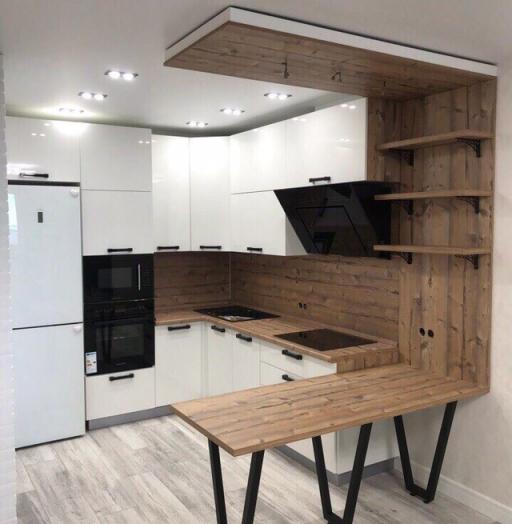 Белый кухонный гарнитур-Кухня из пластика «Модель 446»-фото4